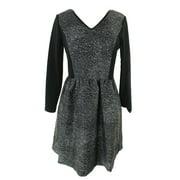 Kensie Black-White 3/4-Sleeve Lace-Inset Dress M