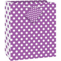 "Purple Polka Dot Gift Bag, 9"" x 7"""