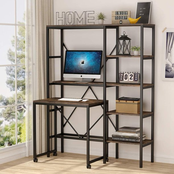 Tribesigns Mobile Computer Desk With 5, Desk And Shelves