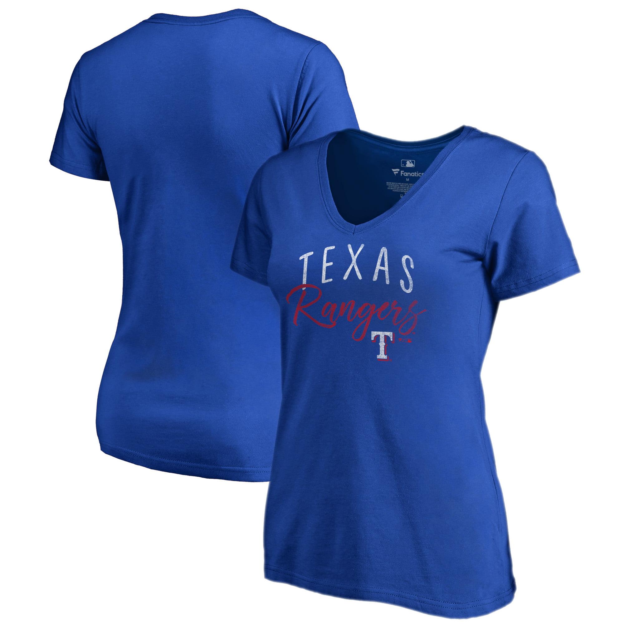Texas Rangers Fanatics Branded Women's Plus Size Graceful V-Neck T-Shirt - Royal