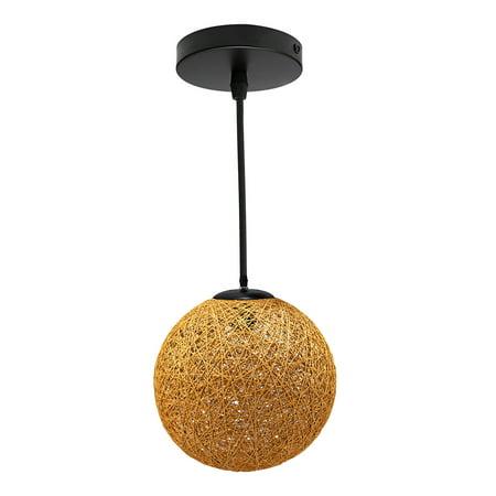 Modern Rattan Global Lampshade Pendant Lamp Chandelier Ceiling Light Fixture for Home Bar Cafe Restaurant Decoration (Craft Restaurant)