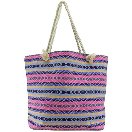 Pink Multicolor Stripe Tribal Pattern Oversize Beach Tote Bag