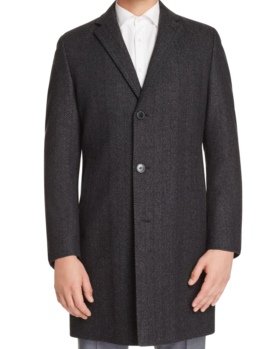 Hugo Boss New Charcoal Gray Mens Size 44R Herringbone Wool Coat by Mens Wool Coats