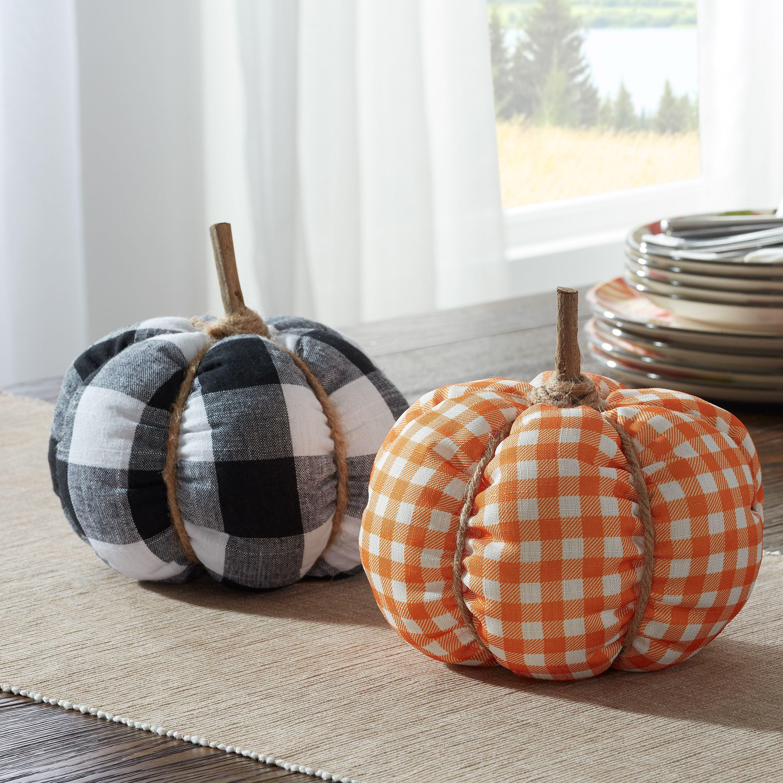 Way To Celebrate Plaid Fabric Pumpkins 2 Count Walmart Com Walmart Com