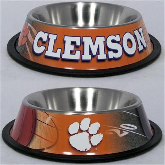 DoggieNation 716298576607 One Size Clemson Tigers Dog Bowl - Stainless