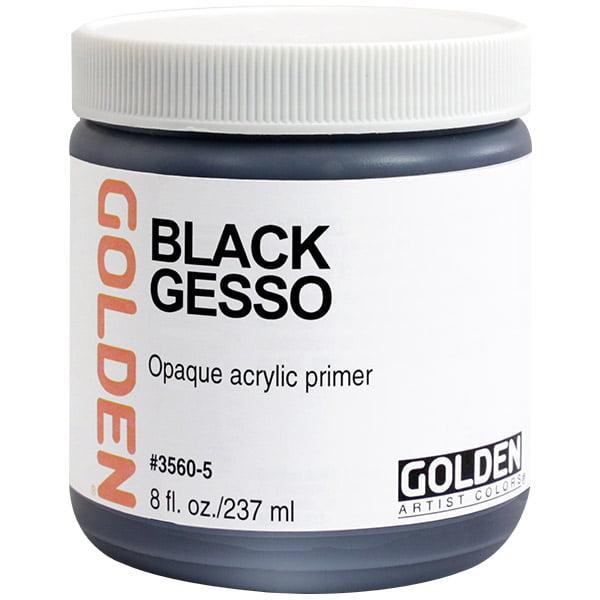 Golden 0003560-5 8oz.  - 236ml - Traditional Gesso Jar - Black