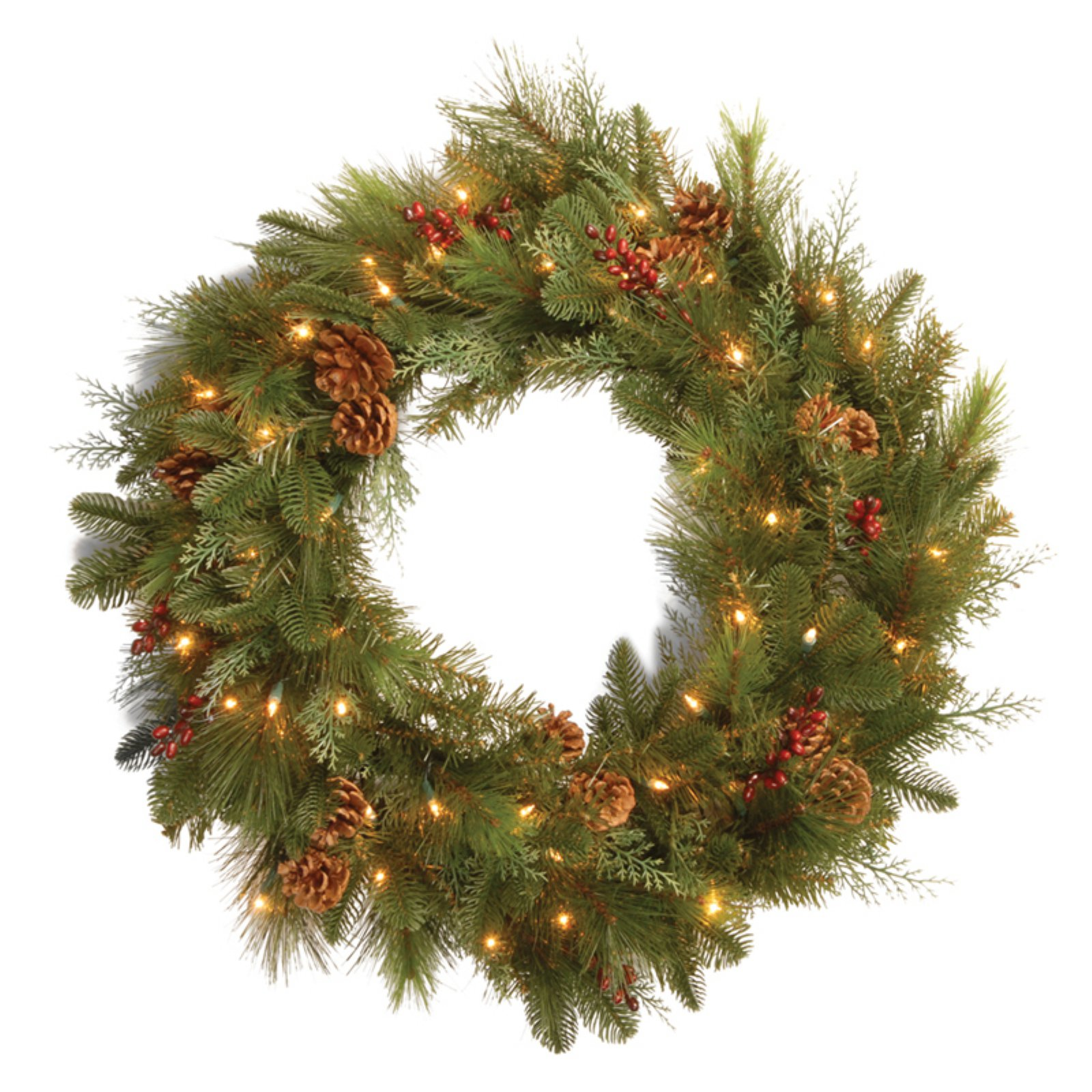 "National Tree Pre-Lit 30"" Decorative Collection Noble Mixed Wreath with Red Berries, Cones and 50 Soft White LED Battery Operated Lights"