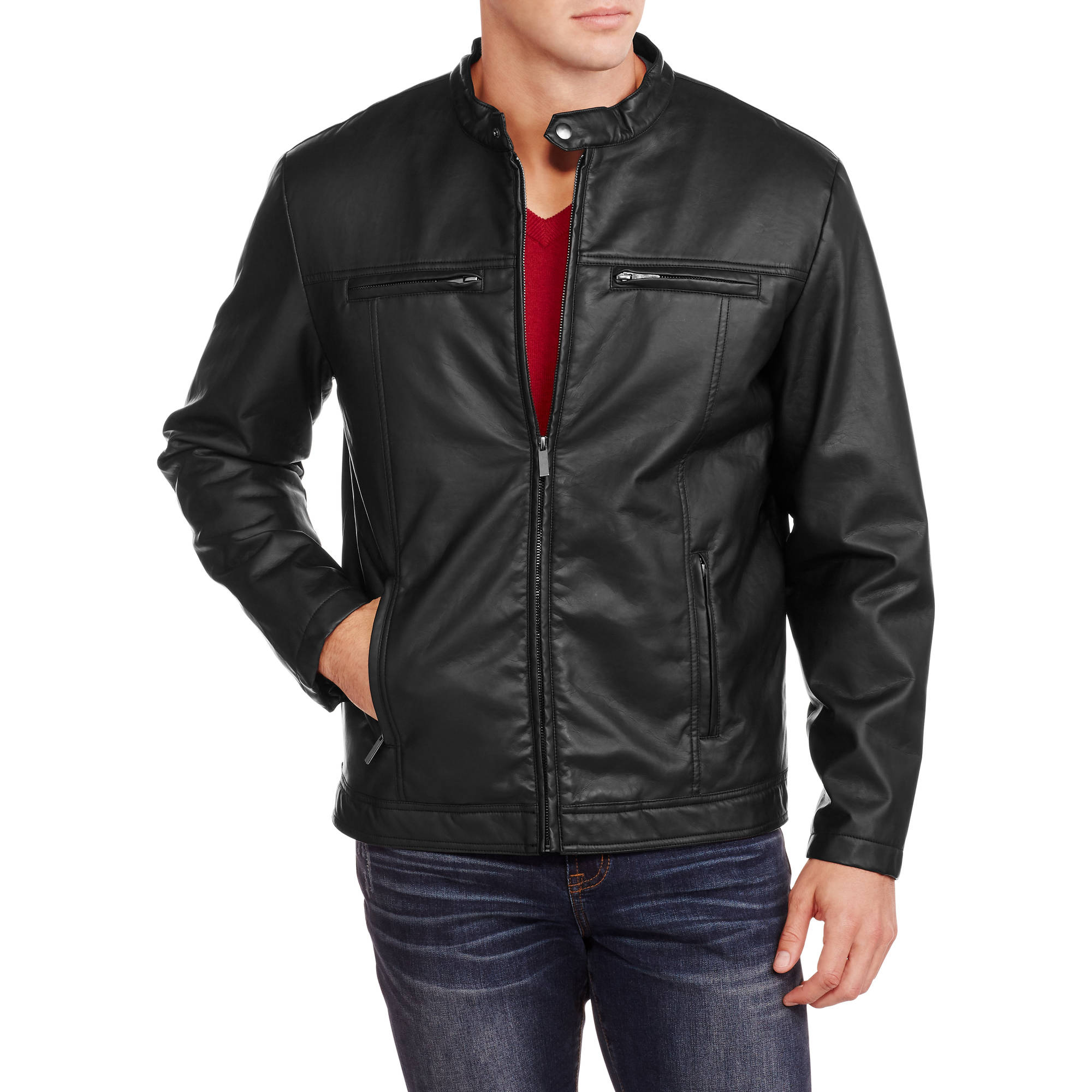 Men's Faux Leather Moto Jacket with Sherpa Lining