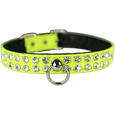 "OmniPet Majestic Crystal Pet Collar, 1/2"" x 10"", Neon Yellow - image 1 of 1"