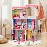 Large Doll house Dolls furniture set, Wood Dream House Barbie House Dollhouse,Play Doll House for Toddlers, Boys And Girls