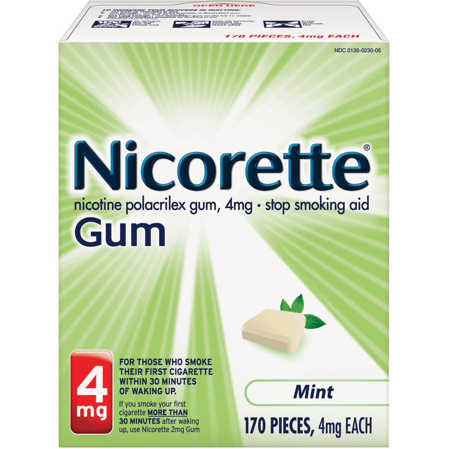 Nicorette Stop Smoking Aid Nicotine Gum, Mint Flavor, 4mg, 170 Pieces