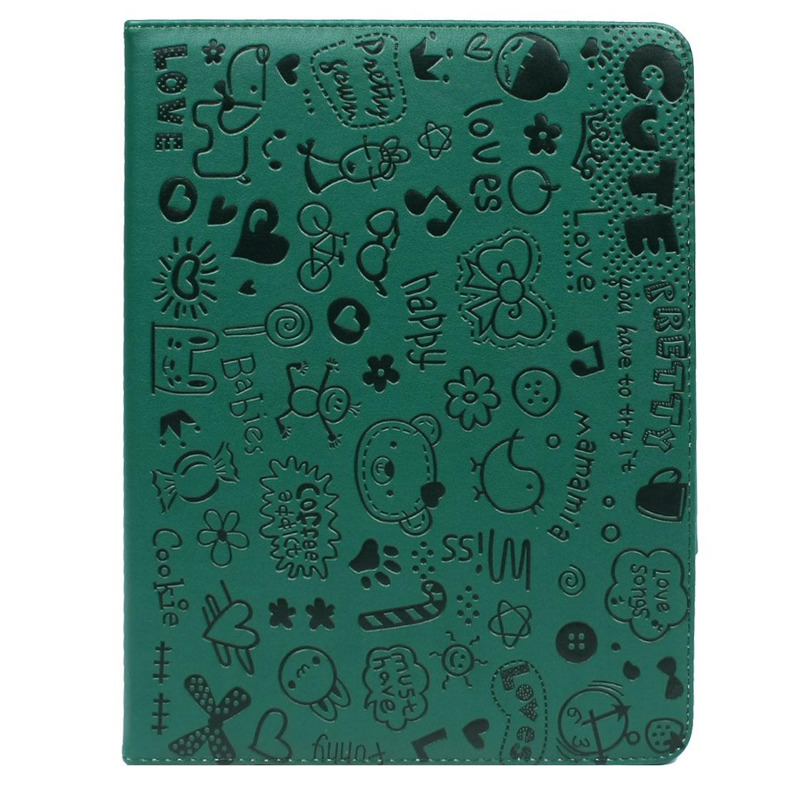 Unique Bargains Unique Bargains Green Black Animals Magnetic Coloure Tablet Stand Case Folio Cover for iPad 2 3