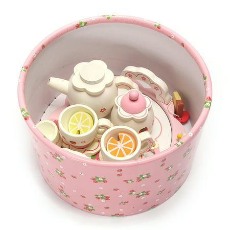 Meigar Wooden Kids Children Tea Set Role Play Kitchen Toys Pretend Cups Teapot Tray Bowl Christmas Gift Today