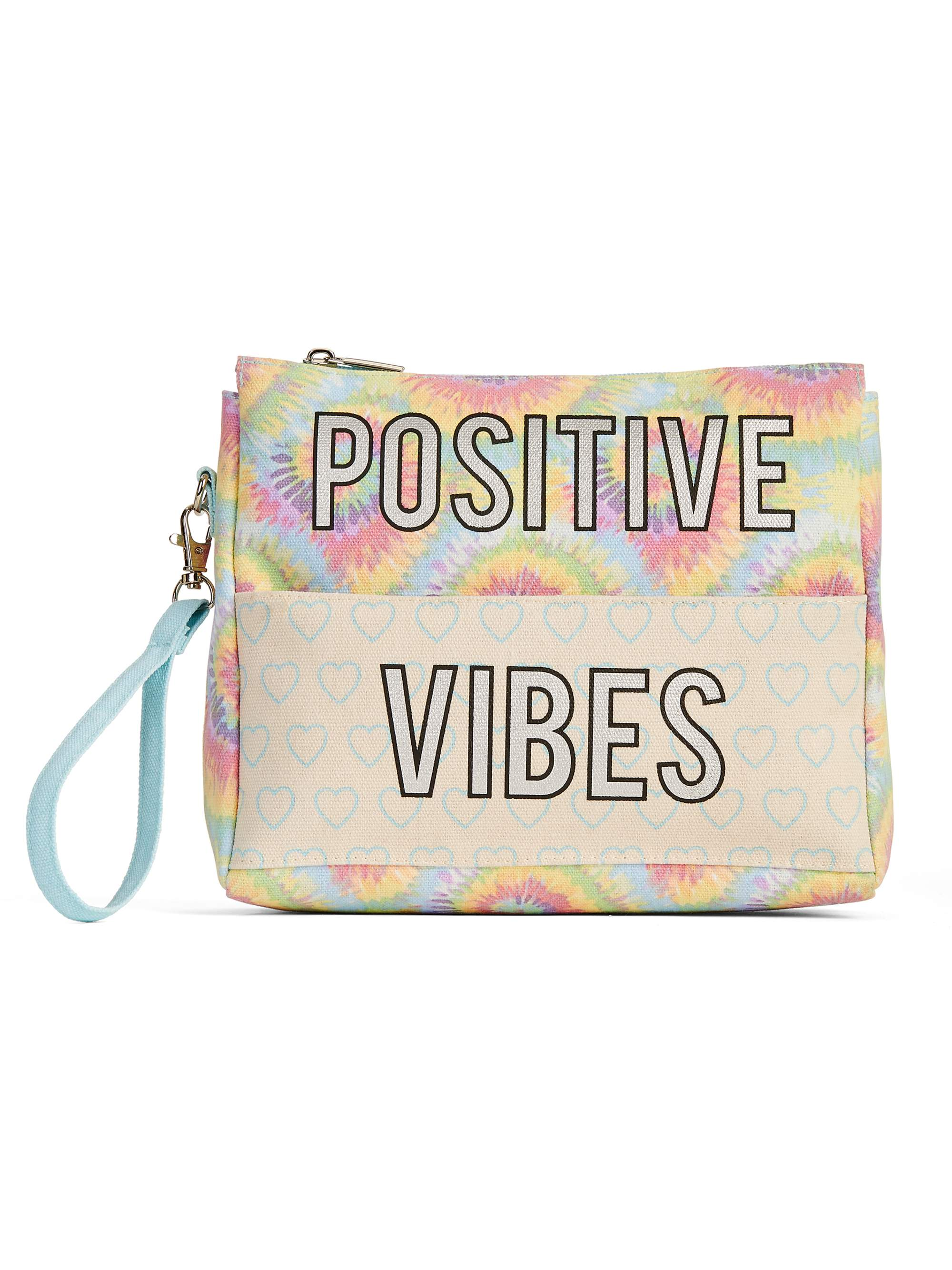 "No Boundaries ""Positive Vibes"" Wristlet Front Pocket Pouch"