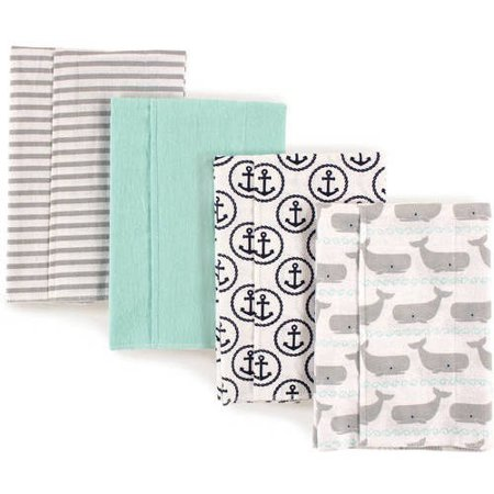 Hudson Baby Boy and Girl Flannel Burp Cloths, 4-Pack -