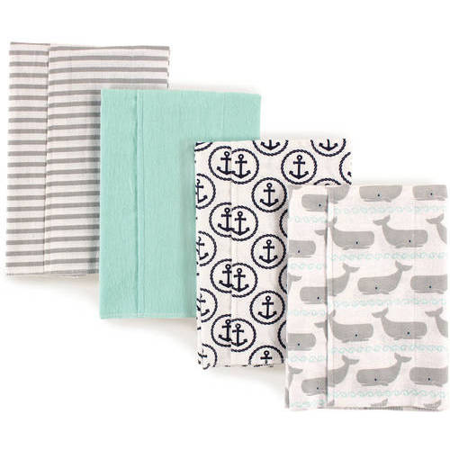 Hudson Baby Boy and Girl Flannel Burp Cloths, 4-Pack - Whales
