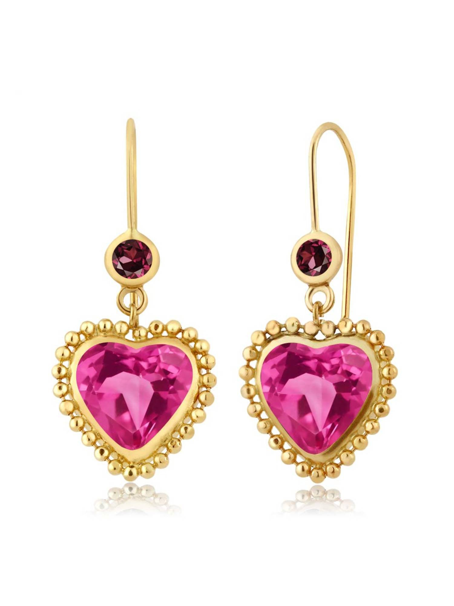 4.64 Ct Pink Mystic Topaz Red Rhodolite Garnet 14K Yellow Gold Earrings by
