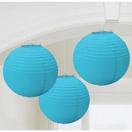 Paper Party Lanterns - Ocean Blue Round Paper Lanterns, 3pk