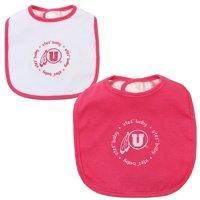 Utah Utes Infant 2-Pack Baby Bib Set - Pink/White