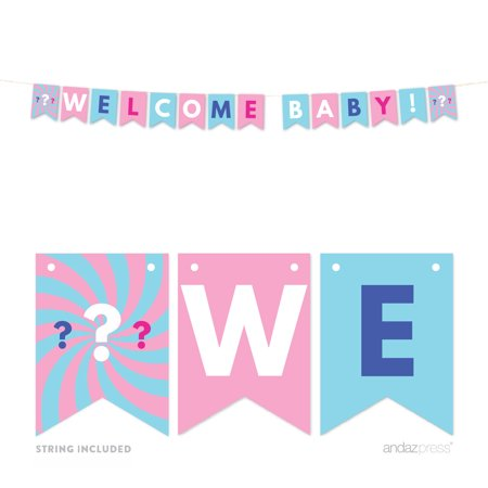 Gender Reveal Baby Shower Pink or Blue, Welcome Baby 5-Feet Hanging Pennant Party Banner with String