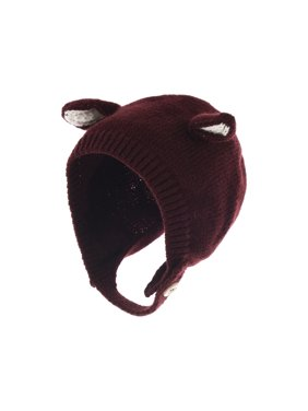 WITHMOONS Infant Baby Winter Earflap Cap Beanie Toddler Bear Hat CCJ869 (Wine)