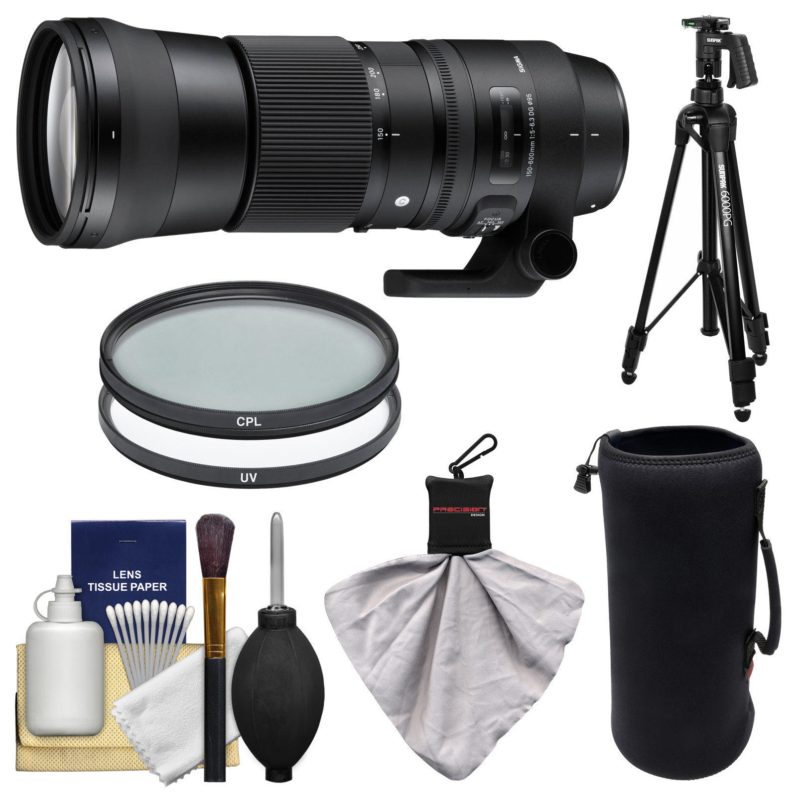Sigma 150-600mm f/5.0-6.3 Contemporary DG OS HSM Zoom Lens for Canon EOS DSLR Cameras with Pistol Grip Tripod + UV & CPL Filters + Pouch + Kit