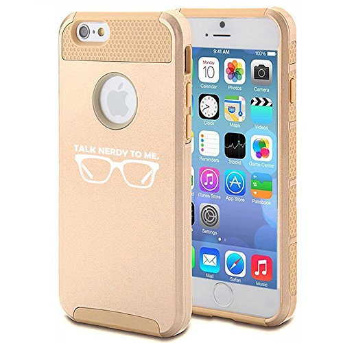 Apple iPhone 6 Plus / 6s Plus Shockproof Impact Hard Case Cover Talk Nerdy To Me (Gold),MIP