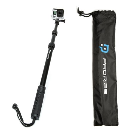 PRORIES Action Selfie Stick for GoPro Hero & Session, Action Cams - Best Aluminum Waterproof Monopod - Extends 17-40 Inch. - Aluminum Tripod Mount, Thumb Screw, Carrying Bag, Phone