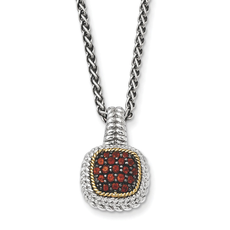 Sterling Silver w 14k and Black Rhodium Garnet Necklace by Kevin Jewelers
