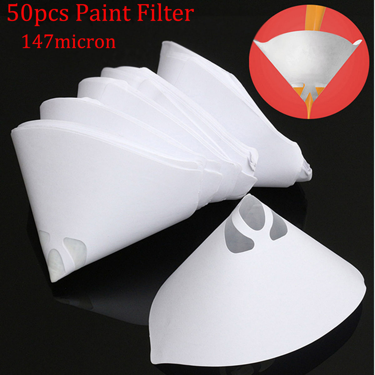 50PCS Fine Paint Cone Filter 100 Micron Strainers Nylon Mesh Conical Paper Net
