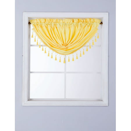 RS8 1-Piece YELLOW Swag Waterfall Insulated Foam Lined Blackout Rod Pocket Window Valance 48