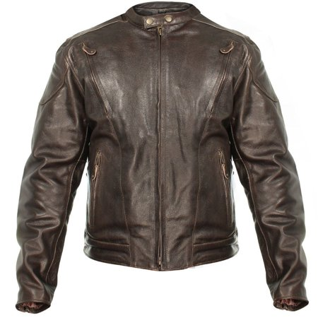 Xelement Xelement B7203 Men's 'Speedster' Retro Brown Premium Leather Motorcycle Jacket with Zip Out Lining Brown