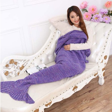 Bigface Up Knitted Mermaid Tail Blanket Crochet for Kids Adult Sofa Sleeping Bags Crochet Mermaid Blanket(77