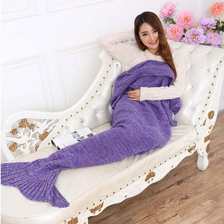 Bigface Up Knitted Mermaid Tail Blanket Crochet for Kids Adult Sofa Sleeping Bags Crochet Mermaid - Mermaid Tails Ebay