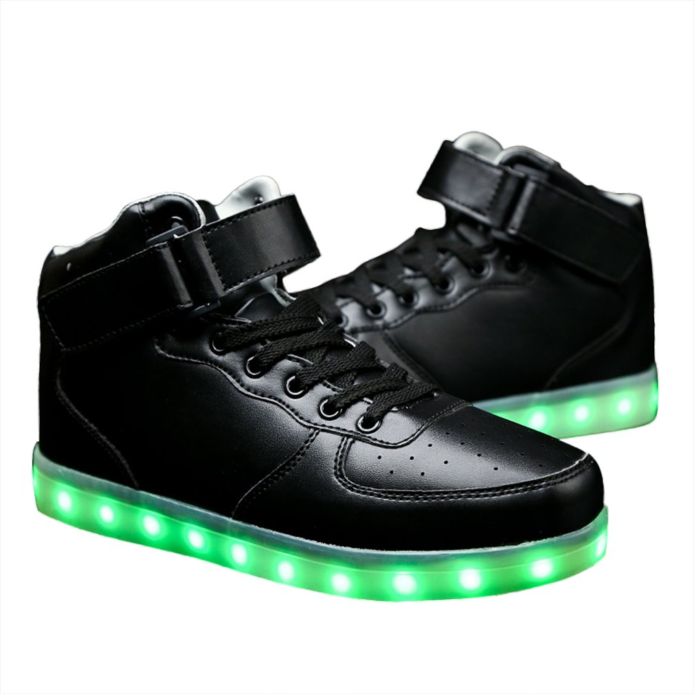 Men LED Lighting High Top Light Up Shoes Flashing USB Charging Lace-up Shoes