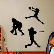 Sweetums Softball Players Girls Large Wall Decal Set