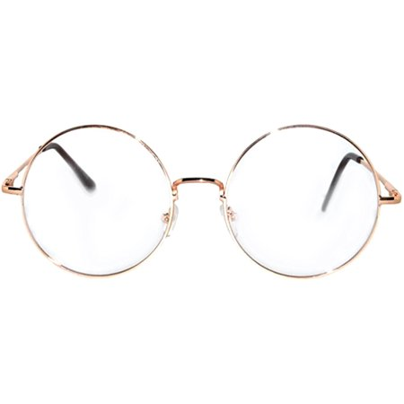 Round Retro Hipster Vintage Circle Style Tint Sunglasses Metal Gold Frame Clear Lens OWL - Make Your Own Sunglasses