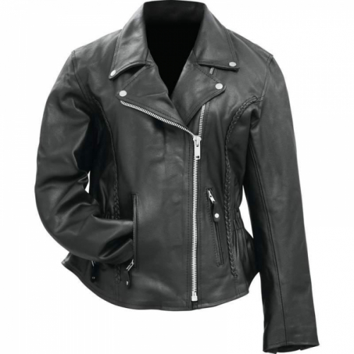 Rocky Mountain Hides Ladies Solid Genuine Buffalo Leather Motorcycle Jacket- L
