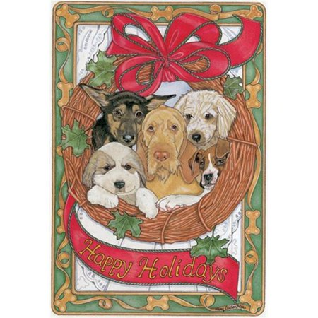 Pipsqueak Productions C499 Doggie Wreath Mix Dog Holiday Christmas Boxed Cards - Pack of 10
