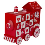 "10.5"" Red and White Vintage Advent Calendar Train Christmas Decor"