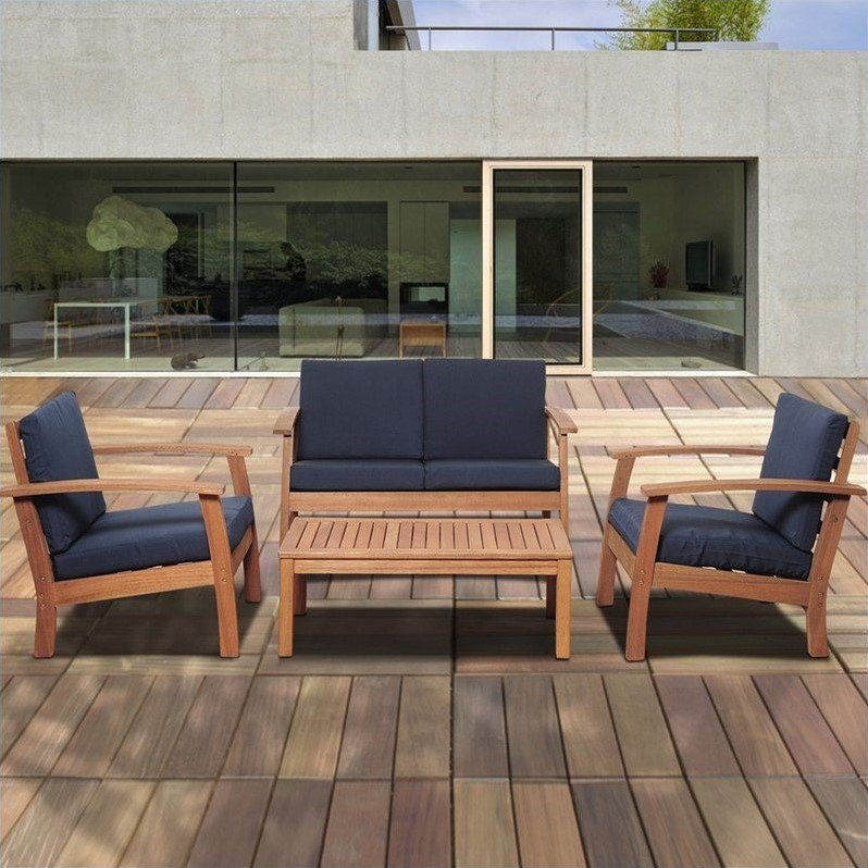 International Home Amazonia 4 Piece Outdoor Sofa Set in Brown