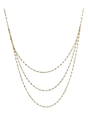 10K Yellow Gold Layered Three Strand Mirror Chain Necklace