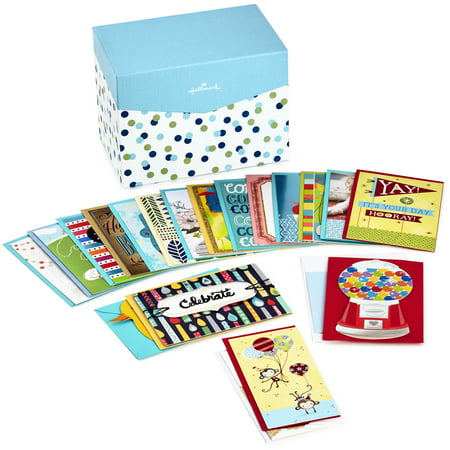 Hallmark All Occasion Boxed Greeting Card Assortment, 20-ct. with Dividers (Blue & Green Dots) ()