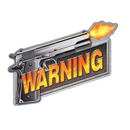 """Warning Fire Handgun [3 Pack] of Vinyl Decal Stickers   5""""   Indoor/Outdoor   Funny decoration for Laptop, Car, Garage , Bedroom, Offices   SignMission"""