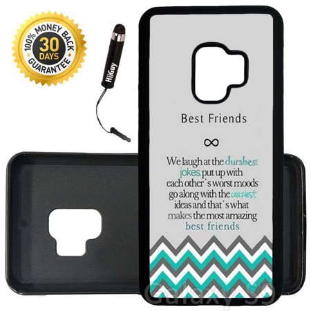 Custom Galaxy S9 Case (Best Friends Design) Edge-to-Edge Rubber Black Cover Ultra Slim | Lightweight | Includes Stylus Pen by