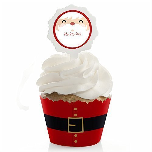 Jolly Santa - Christmas Cupcake Wrapper & Cupcake Pick Christmas Party Kit - Set of 24