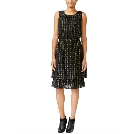 MAISON JULES Womens Black Zippered Eyelet Printed Sleeveless Jewel Neck Knee Length Sheath Dress Size: XS
