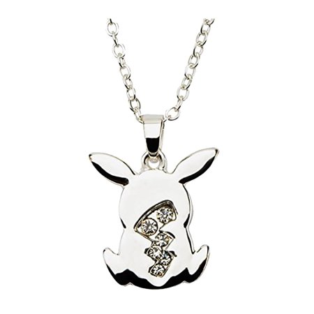 Pikachu Tail w/ Gems Silver Pendant Necklace