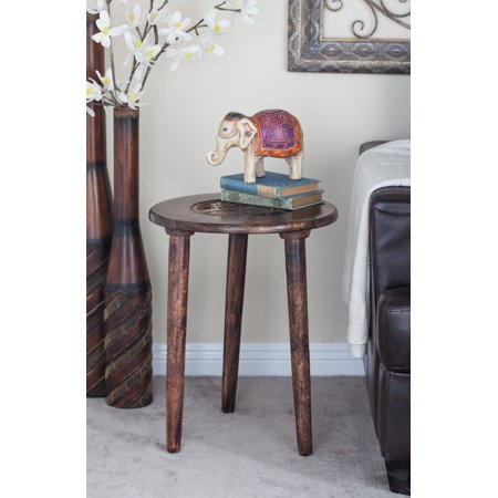 Decmode 22 X 17 Inch Modern Round Mango Wood Tripod Accent Table With Carved Tree Design, Brown ()