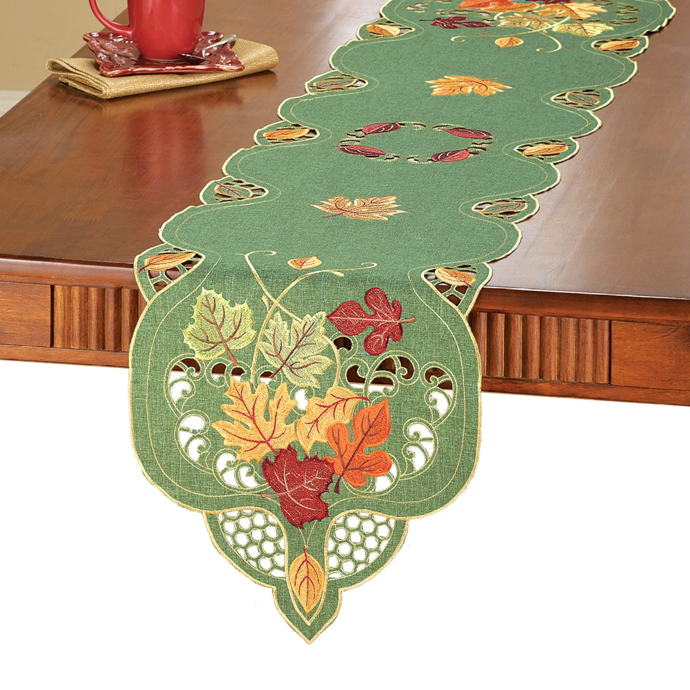 Embroidered Falling Leaves Table Linens with Intricate Cut-outs, Runner by Collections Etc